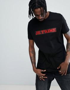 Длинная футболка с принтом Je Taime ASOS - Черный