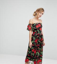 Платье для выпускного с вышивкой и оборками True Violet - Мульти