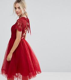 Платье миди с юбкой из тюля и шнуровкой Chi Chi London Petite - Красный
