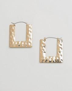 Кованые серьги-кольца квадратной формы Monki - Золотой