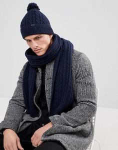 Темно-синий подарочный набор из шапки и шарфа с узором в косичку Jack Wills Belmont - Темно-синий