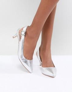 Серебристые туфли с эффектом металлик на каблуке-рюмочке Faith - Серебряный
