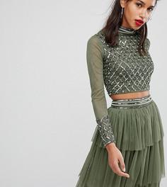 Кроп-топ с длинными рукавами и декоративной отделкой Lace & Beads - Зеленый
