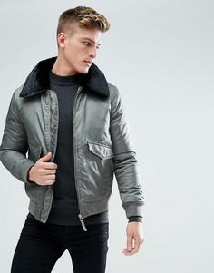 Серая куртка с воротником из искусственного меха Burton Menswear - Серый
