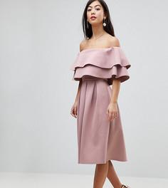 Платье миди с открытыми плечами ASOS PETITE - Красный