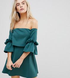 Платье мини с расклешенными рукавами ASOS PETITE - Зеленый