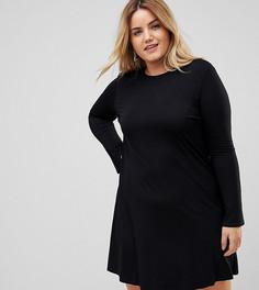 Свободное платье мини с рукавами клеш ASOS CURVE - Черный