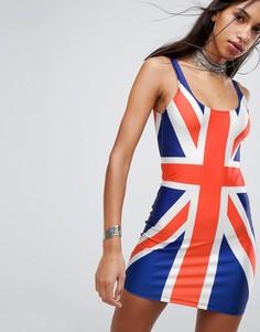Платье мини с принтом британского флага Jaded London - Мульти