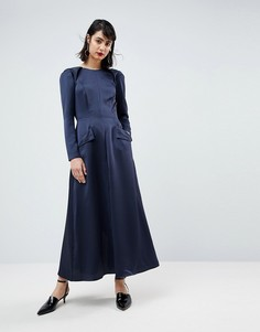 Атласное платье-комбинезон ASOS WHITE - Темно-синий