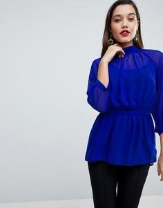 Полупрозрачная блузка с поясом и открытой спиной ASOS - Синий