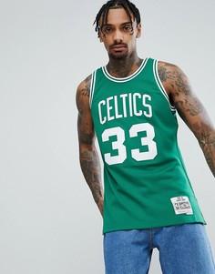 Зеленая майка с логотипом команды NBA Celtics и принтом Bird Mitchell & Ness - Зеленый