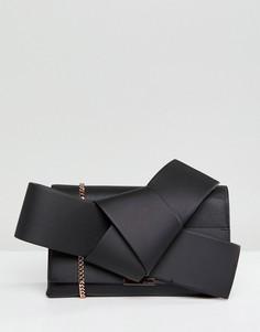 Кожаный клатч с большим декоративным узлом Ted Baker - Черный
