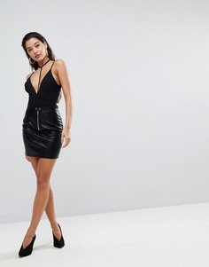 Мини-юбка из искусственной кожи с отделкой в байкерском стиле Parallel Lines - Черный