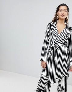 Комбинируемый свободный пиджак в полоску с поясом Parallel Lines - Мульти