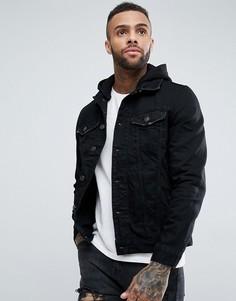 Черная джинсовая куртка со съемным капюшоном River Island - Черный