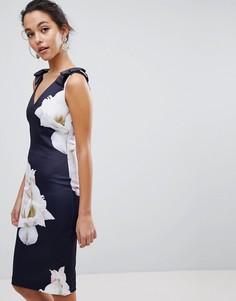 Облегающее платье с бантиками на плечах и принтом гардений Ted Baker Soleia - Темно-синий