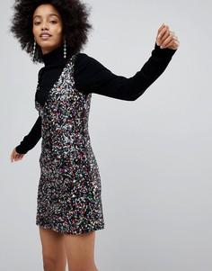 Платье мини с отделкой пайетками New Look - Мульти