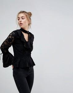 Кружевная блузка с оборками Moon River - Черный