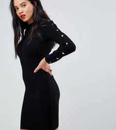 Облегающее платье с длинными рукавами и пуговицами Y.A.S Tall - Черный