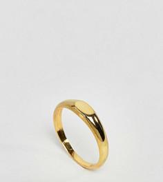 Кольцо из позолоченного серебра с плоской верхней частью ASOS - Золотой