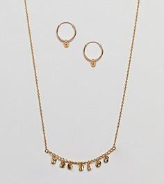 Серьги-кольца и ожерелье из позолоченного серебра в подарочном наборе ASOS - Золотой