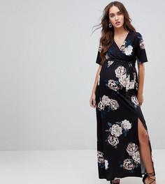 Платье макси с принтом роз и запахом для кормящих мам ASOS MATERNITY - Мульти
