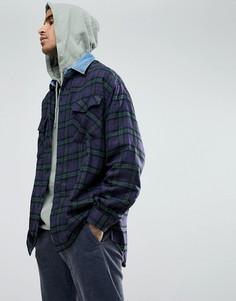 Оверсайз-рубашка в клетку с джинсовым воротником Mennace - Синий
