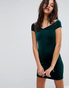 Бархатное платье с вырезом сердечком Miss Selfridge - Зеленый