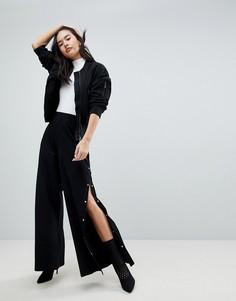 Широкие брюки с разрезами на кнопках ASOS - Черный