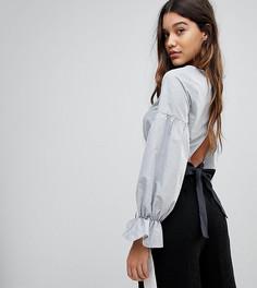 Укороченная блузка с бантом PrettyLittleThing - Серый