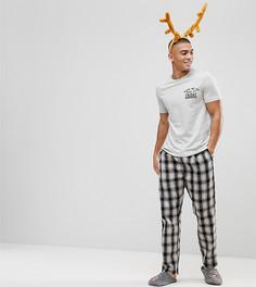Серая новогодняя пижама в клетку River Island - Серый