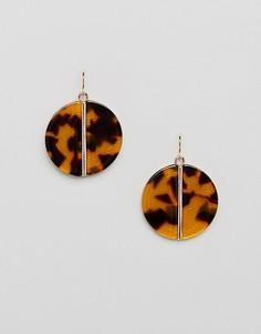Серьги с подвеской-диском и леопардовым принтом Pieces - Мульти