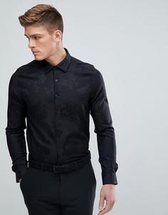 Черная приталенная жаккардовая рубашка Burton Menswear - Черный