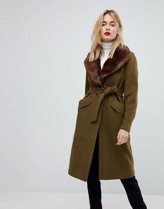 Длинное шерстяное пальто с воротником из искусственного меха Vero Moda - Зеленый