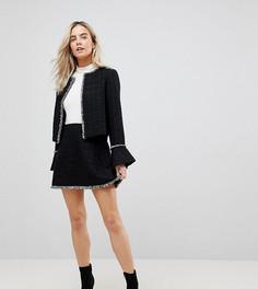 Мини-юбка с необработанным краем Vero Moda Petite - Черный