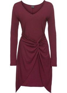 Трикотажное платье с драпировкой в узел (темно-бордовый) Bonprix
