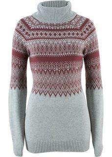 Пуловер-водолазка, украшенный бусинами (светло-серый меланж/кленово-красный с узором) Bonprix