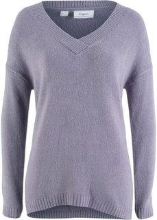 Пуловер покроя оверсайз с глубоким V-образным вырезом (дымчато-фиолетовый) Bonprix