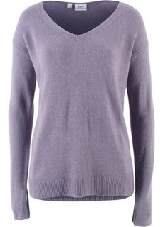 Пуловер покроя оверсайз с разрезом (дымчато-фиолетовый) Bonprix