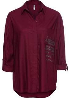 Блузка длинного покроя (кленово-красный/антрацитовый меланж с рисунком) Bonprix