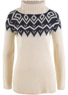 Пуловер с высоким воротником и длинным рукавом (кремовый меланж/темно-синий принт) Bonprix
