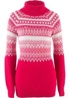 Пуловер-водолазка, украшенный бусинами (красный/кремовый с узором) Bonprix