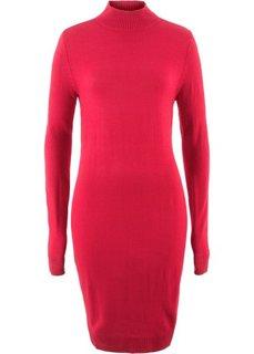 Платье вязаное с воротником-стойкой (красный) Bonprix