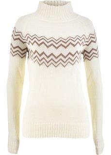 Пуловер (кремовый/коричневый матовый) Bonprix