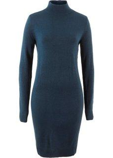 Платье вязаное с воротником-стойкой (темно-синий) Bonprix