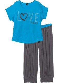 Пижама (2 изделия) (шиферно-серый/капри-синий с рисунком) Bonprix