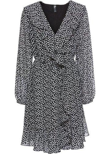 Платье с запахом и воланами (черный/кремовый в горошек)