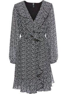 Платье с запахом и воланами (черный/кремовый в горошек) Bonprix