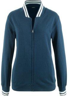 Куртка трикотажная со спортивным воротником (темно-синий) Bonprix