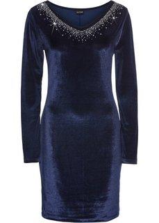 Платье из бархата с аппликацией из страз (темно-синий) Bonprix